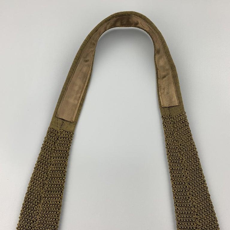 Men's CHARVET Olive Green Silk Textured Knit Tie For Sale