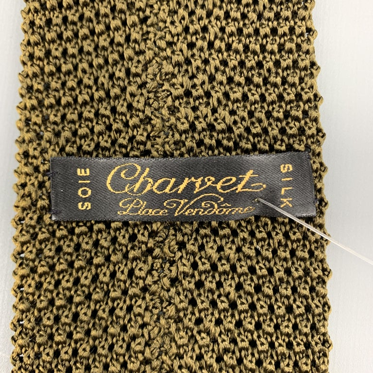 CHARVET Olive Green Silk Textured Knit Tie For Sale 1