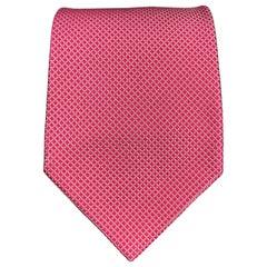 CHARVET Raspberry Pink Grid Print Silk Tie
