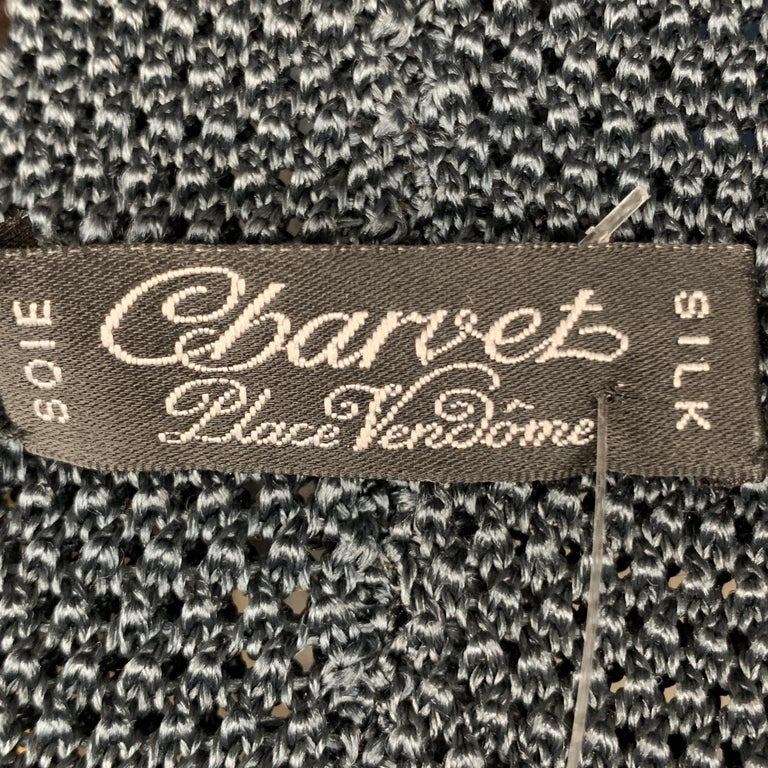 CHARVET Teal Grey Textured Silk Knit Tie For Sale 1