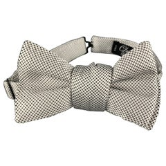 CHARVET White & Black Print Silk Bow Tie