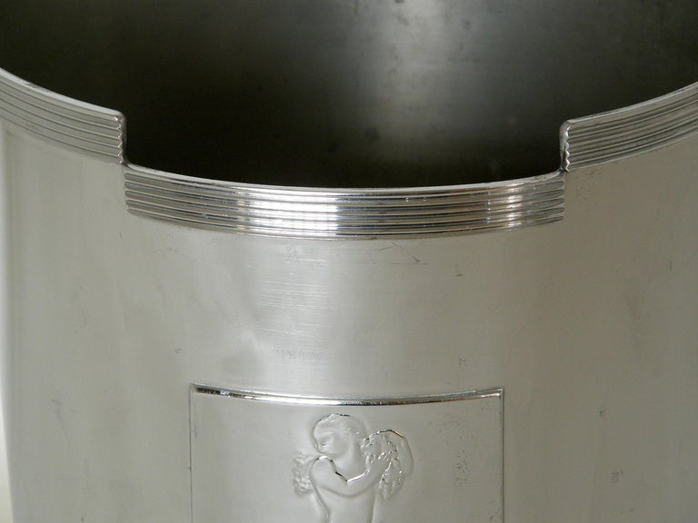 Chase Art Deco Chrome Champagne Ice Bucket Rockwell Kent Bacchus Design In Good Condition For Sale In Chicago, IL