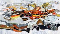 Indian Wells 2, bright red, orange, black and white oil painting, abstraction