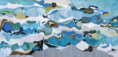"""""""Sail Bay"""" Abstract oil painting with blue, yellow, white and gray"""