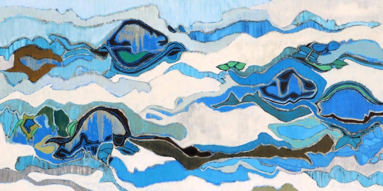 """Chase Langford Abstract Painting - """"Santa Barbara Channel"""" abstract oil painting in vibrant blues and white"""