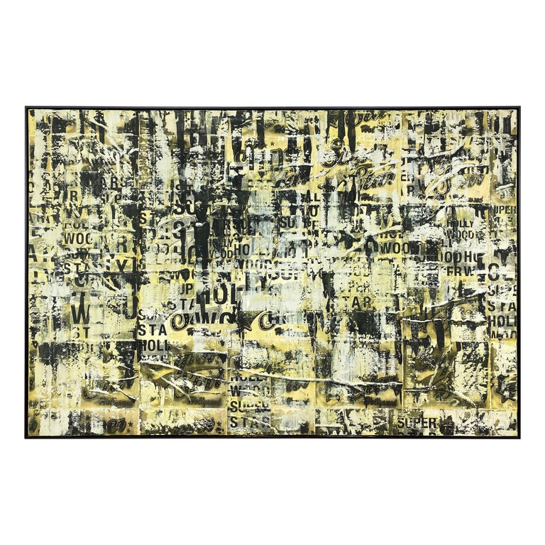 "An extra large 2007 mixed-media abstract expressionist oil painting on canvas titled ""Super Star Hollywood"" by Los Angeles-based contemporary artist Chase Langford.  Displaying an aesthetic and technique not often seen in his work, rendered with"
