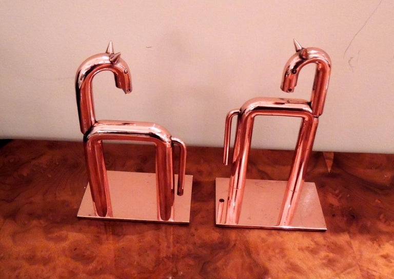 Art Deco Chase Walter Von Nessen Horse Bookends Statue For Sale