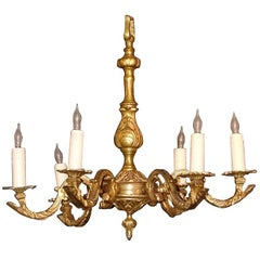 Chased Antique Six-Light Chandelier in Bronze, circa 1870
