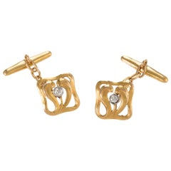 Chased Gold and Diamond Cuff Links