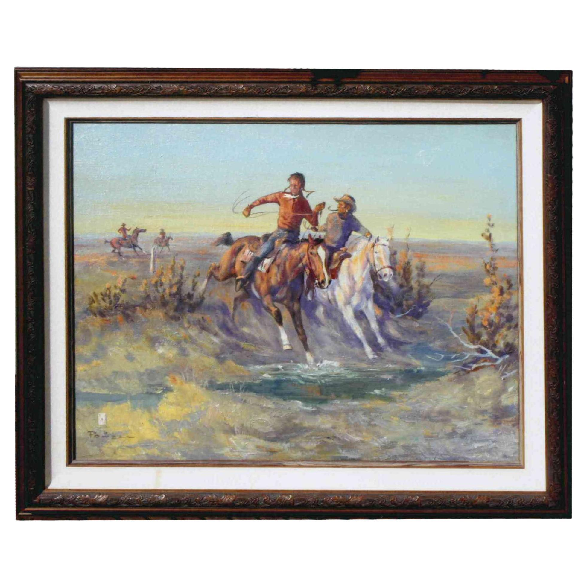 """""""Chasing the Blackfeet"""" Original Oil Painting by Ace Powell"""