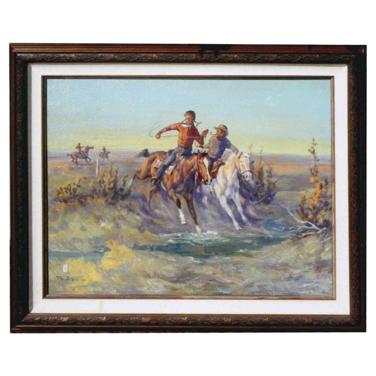 """""""Chasing the Blackfeet"""" Original Oil Painting by Ace Powell For Sale"""