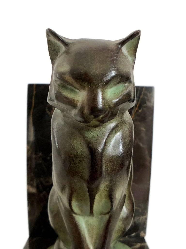 Chat et Dogue Art Deco Bookends of a Cat and a Dog from Max Le Verrier For Sale 5
