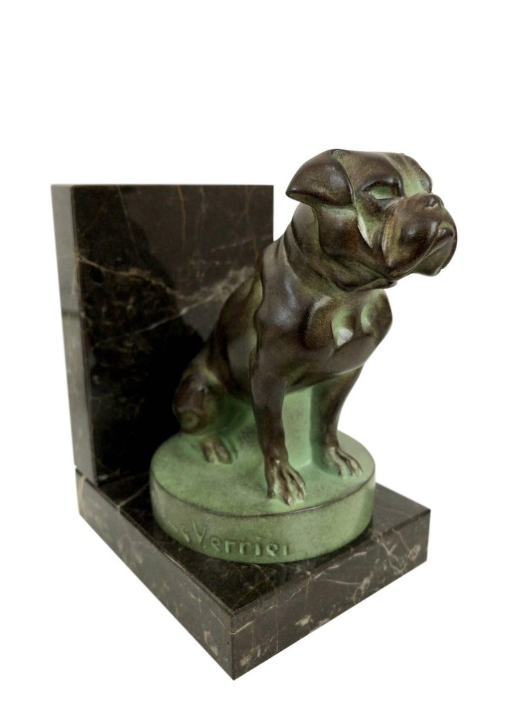 Patinated Chat et Dogue Art Deco Bookends of a Cat and a Dog from Max Le Verrier For Sale