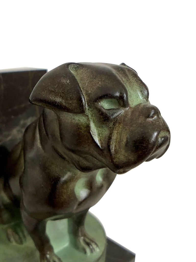 Chat et Dogue Art Deco Bookends of a Cat and a Dog from Max Le Verrier In Excellent Condition For Sale In Baden-Baden, DE