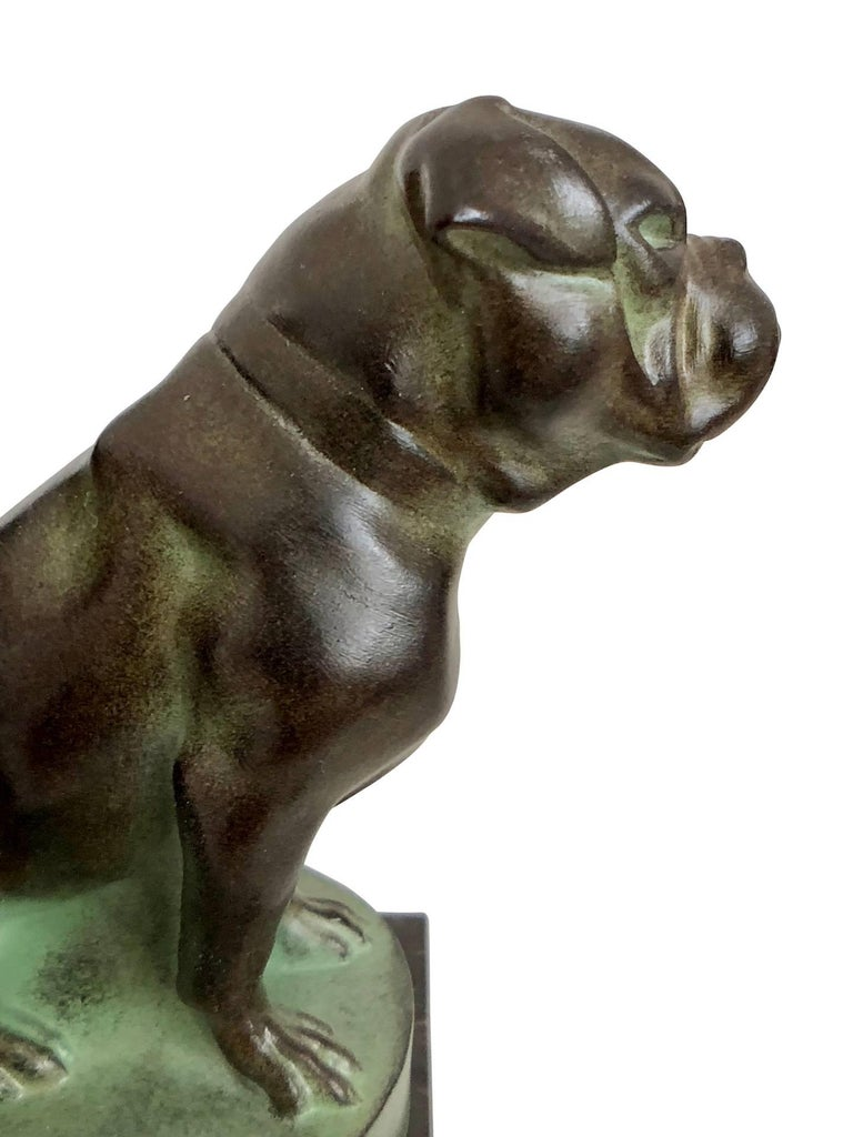 Contemporary Chat et Dogue Art Deco Bookends of a Cat and a Dog from Max Le Verrier For Sale
