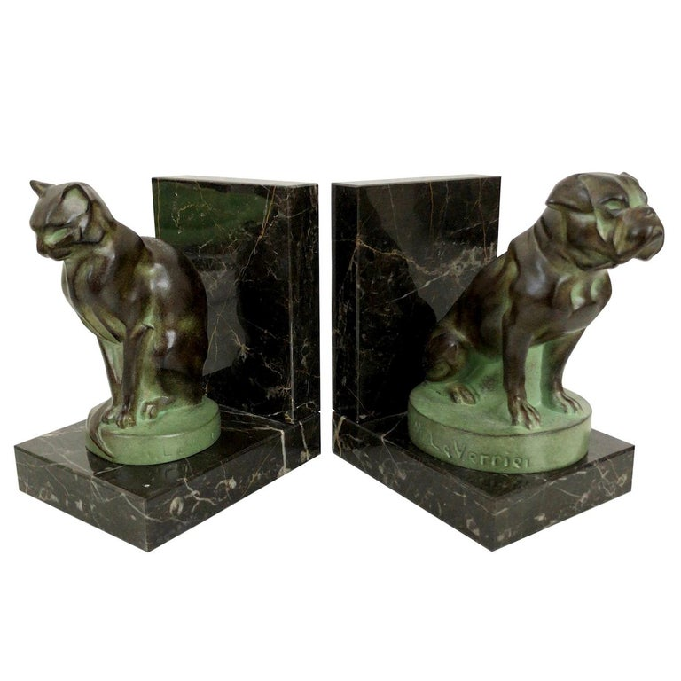 Chat et Dogue Art Deco Bookends of a Cat and a Dog from Max Le Verrier For Sale