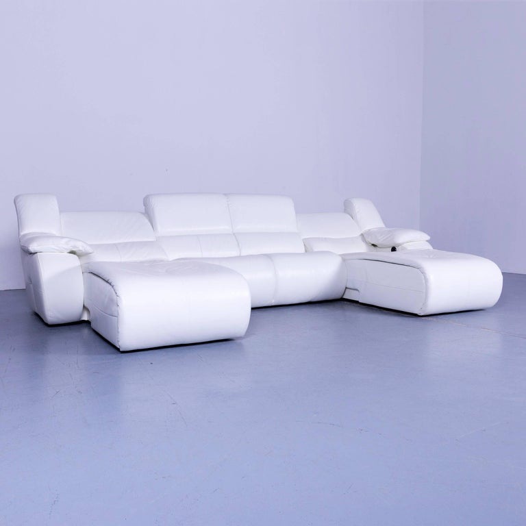 Chateau D Ax Bamboo Leather Corner Sofa White Electric