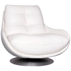 Chateau d`Ax Designer Leather Armchair White Chair