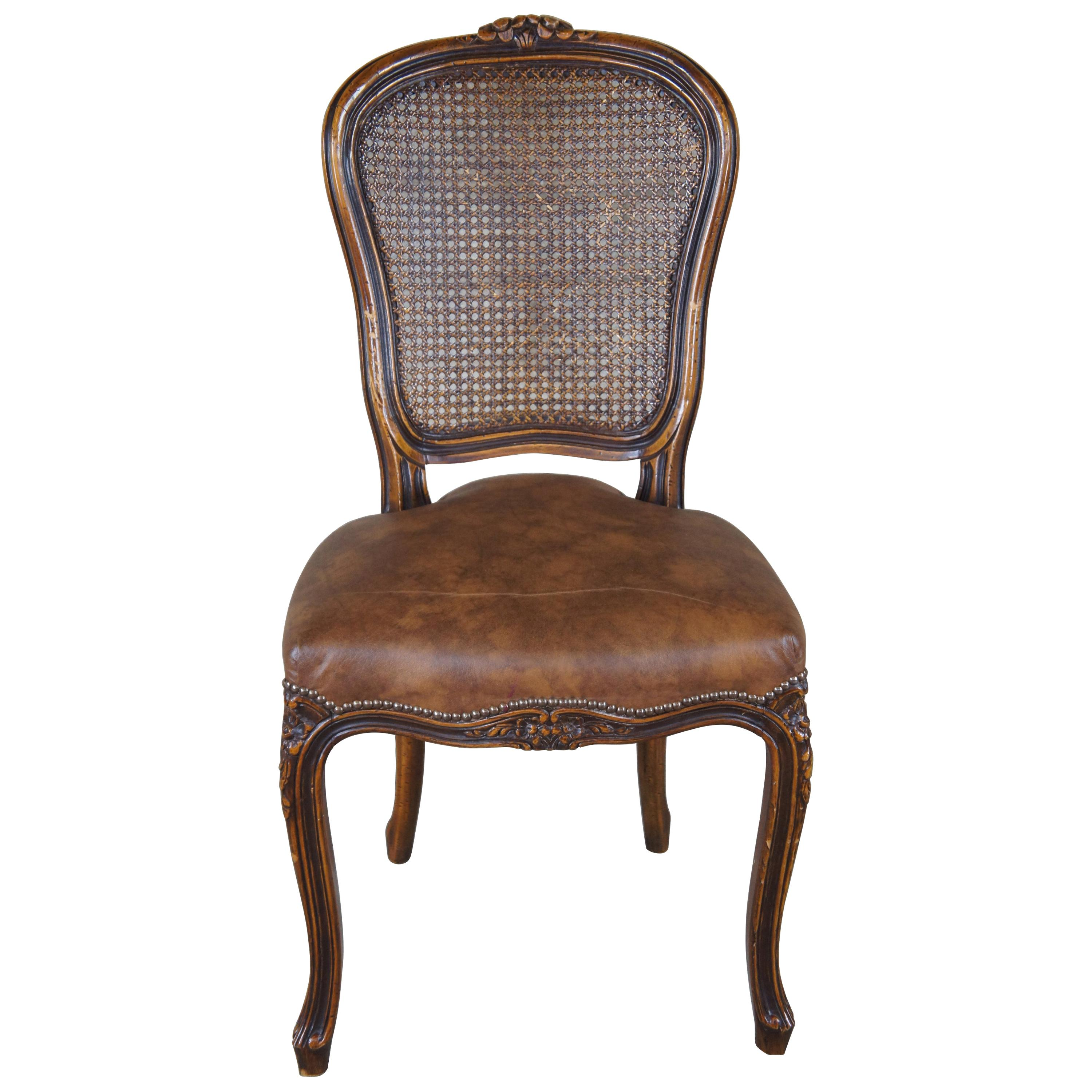 Chateau D'AX French Louis XV Caned Leather Nailhead Side Dining Chair Italian