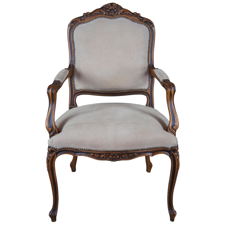 Chateau D'AX French Louis XV Fauteuil Suede Nailhead Library Arm Chair, Italian