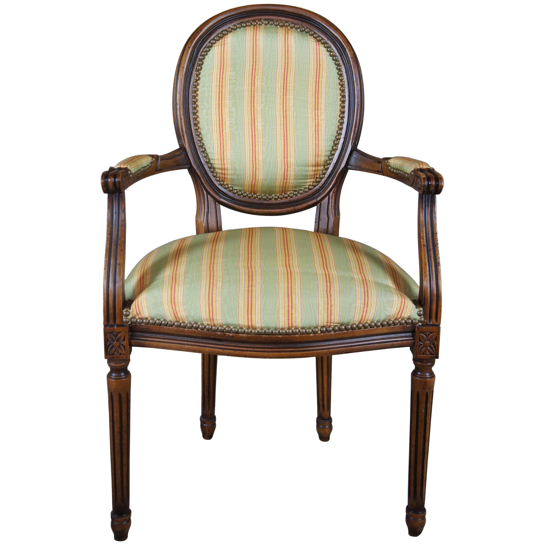 Chateau D'AX French Louis XVI Upholstered Nailhead Fauteuil Arm Chair, Italian