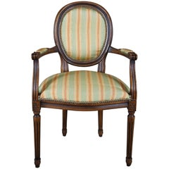 Chateau D'AX French Louis XVI Upholstered Nailhead Fauteuil Arm Chair, Italian