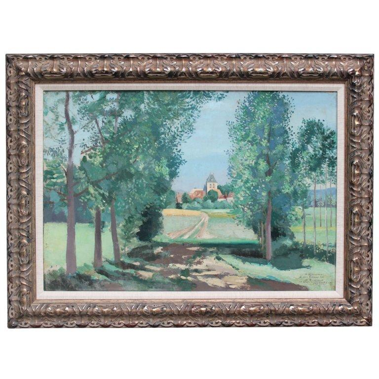 Chateau in a Landscape Painting For Sale