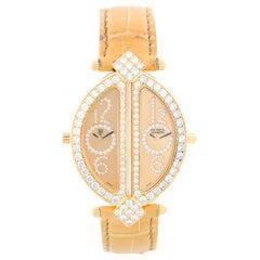 "Chatila ""The Royal Diamond Double Lady"" Dual Time Ladies 18 Karat Gold Watch BA"