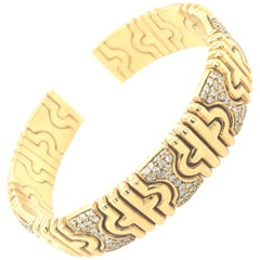Chatila Yellow Gold Cuff Bracelet with Diamonds