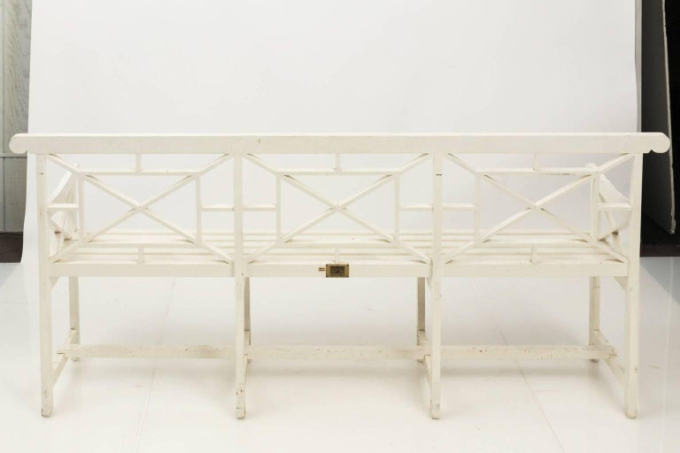 Wood Chatsworth Estate Painted Bench For Sale