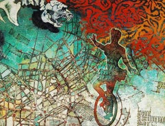 """Circus Show, Acrylic on Canvas, Green, Red, Brown by Indian Artist """"In Stock"""""""
