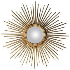 Chaty Vallauris 1950s Sunburst Convex Mirror