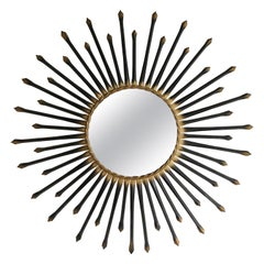 Chaty Vallauris Black Sunburst Mirror 1950s