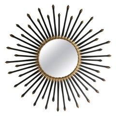 Chaty Vallauris Black Sunburst Mirror, 1950s