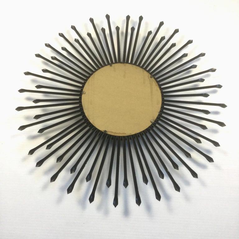 Mid-Century Modern Chaty Vallauris Convex Sunburst Mirror, France, 1950s For Sale