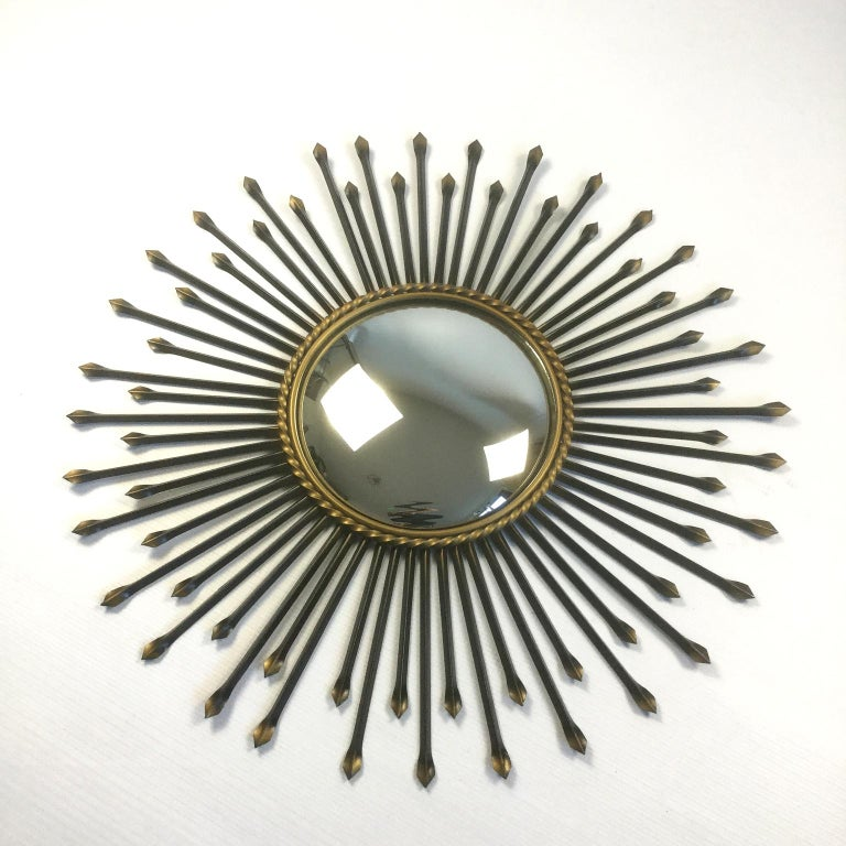 Metalwork Chaty Vallauris Convex Sunburst Mirror, France, 1950s For Sale