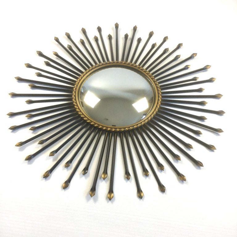 Chaty Vallauris Convex Sunburst Mirror, France, 1950s In Good Condition For Sale In London, GB