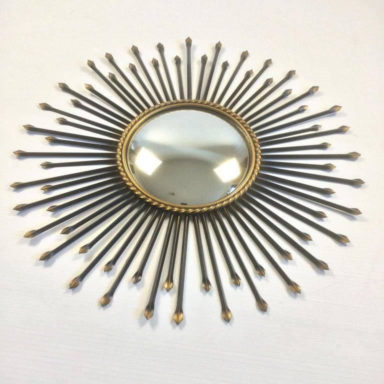 Mid-20th Century Chaty Vallauris Convex Sunburst Mirror, France, 1950s For Sale