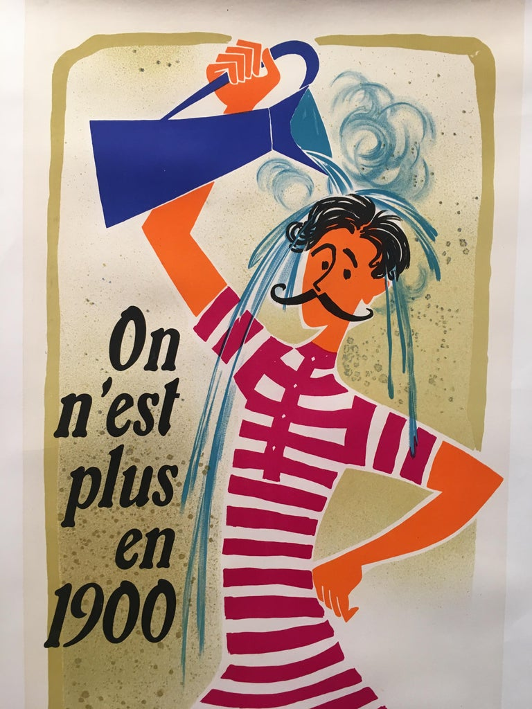 'Chauffe-Eau Électrique'original vintage poster by Jean Colin, Circa 1950  A very cheerful and happy poster advertising a hot water system. This poster has been linen backed for preservation  Year Circa 1951  Dimensions: 160 x 60