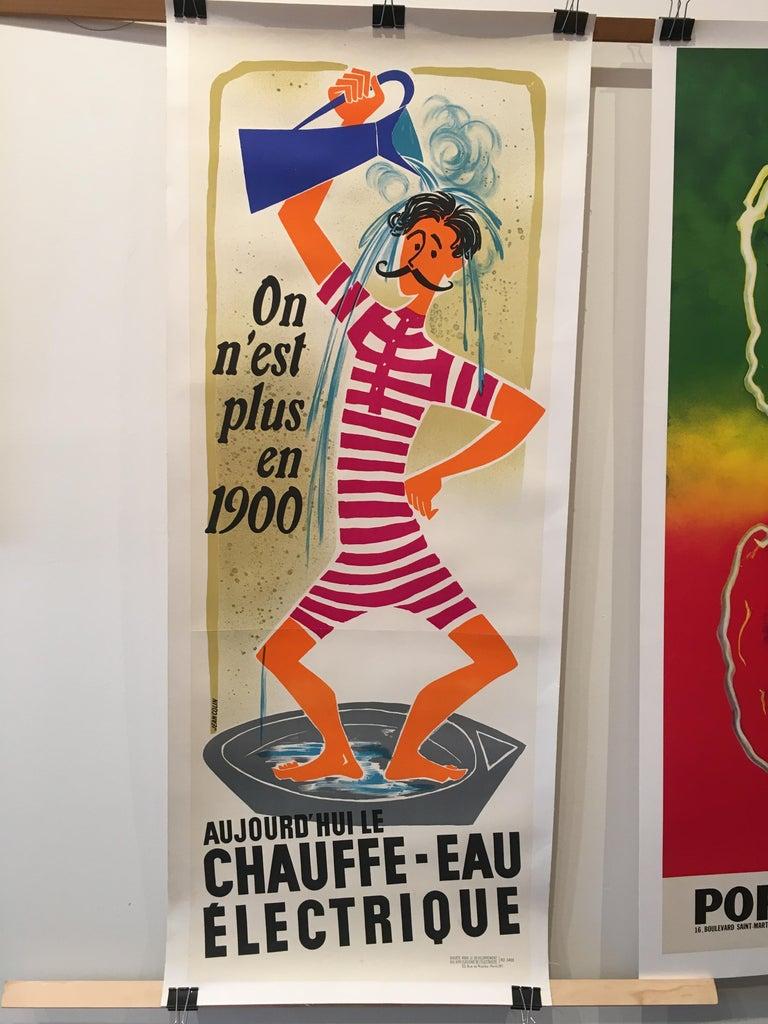 Mid-Century Modern 'Chauffe-Eau Électrique' Original Vintage Poster by Jean Colin, Circa 1950 For Sale