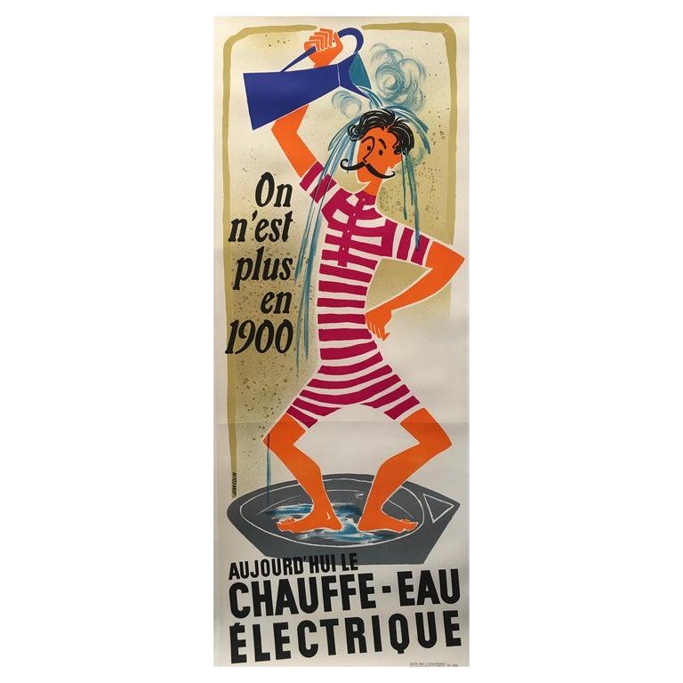 'Chauffe-Eau Électrique' Original Vintage Poster by Jean Colin, Circa 1950 For Sale