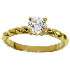 Chaumet 0.41 Carat Diamond 18 Karat Yellow Gold Torsade Solitaire Ring