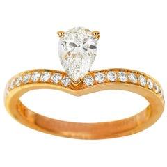 Chaumet 0.52 Carat Diamond 18 Karat Pink Gold Joséphine Aigrette Solitaire Ring