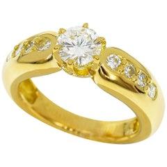 Chaumet 0.60 Carat Diamond 18 Karat Yellow Gold Solitaire Ring