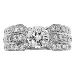 Chaumet 1.04 Carat Diamond 18 Karat White Gold Plume Solitaire Ring