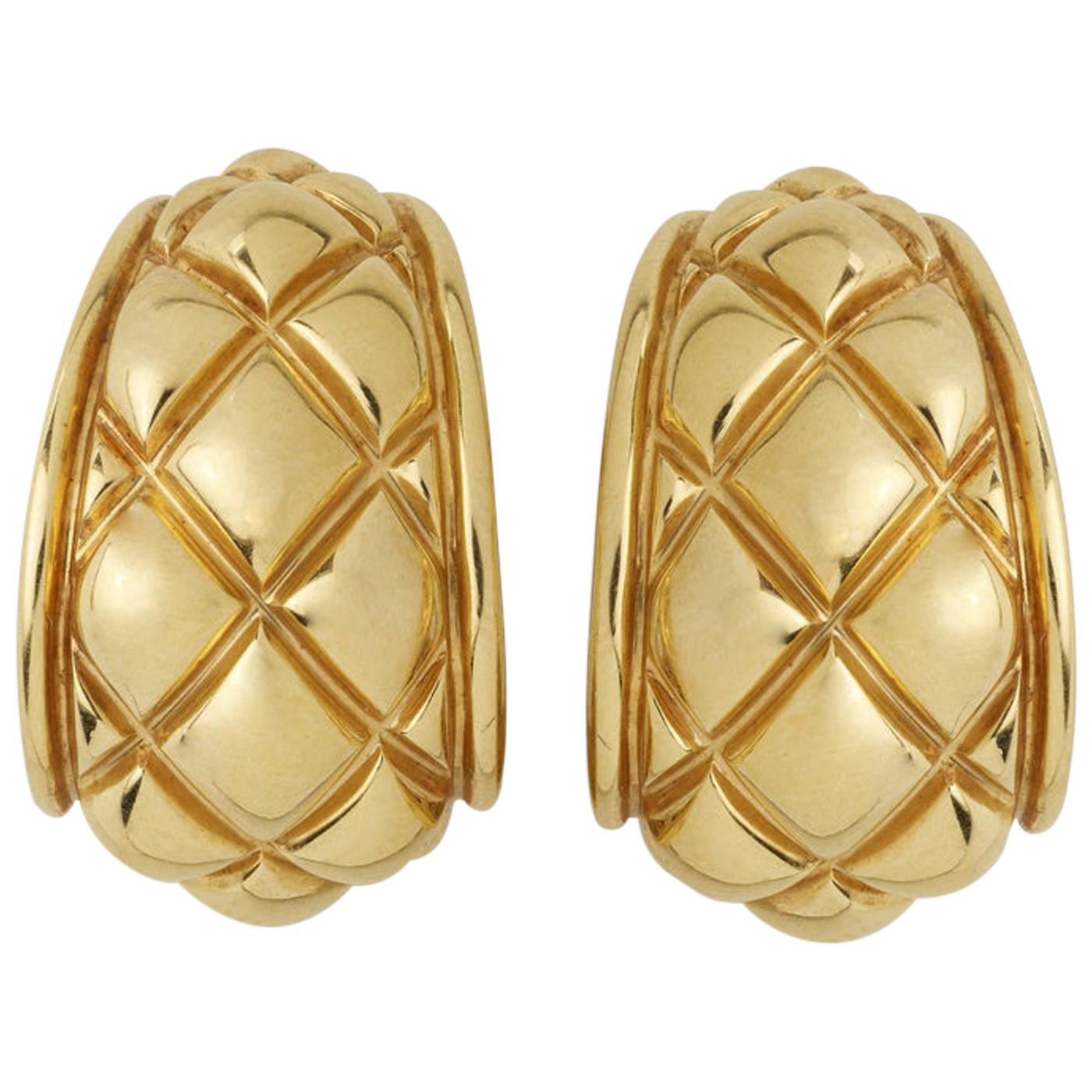 Chaumet Quilted Half-Hoop Earrings Omega Backs and Post 18K Yellow Gold
