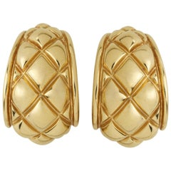 Chaumet 18 Karat Gold Quilted Half-Hoop Earrings