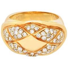 Chaumet 18 Karat Yellow Gold Lattice Bombe Ring