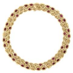 Chaumet 18 Karat Yellow Gold Ruby Necklace, Paris