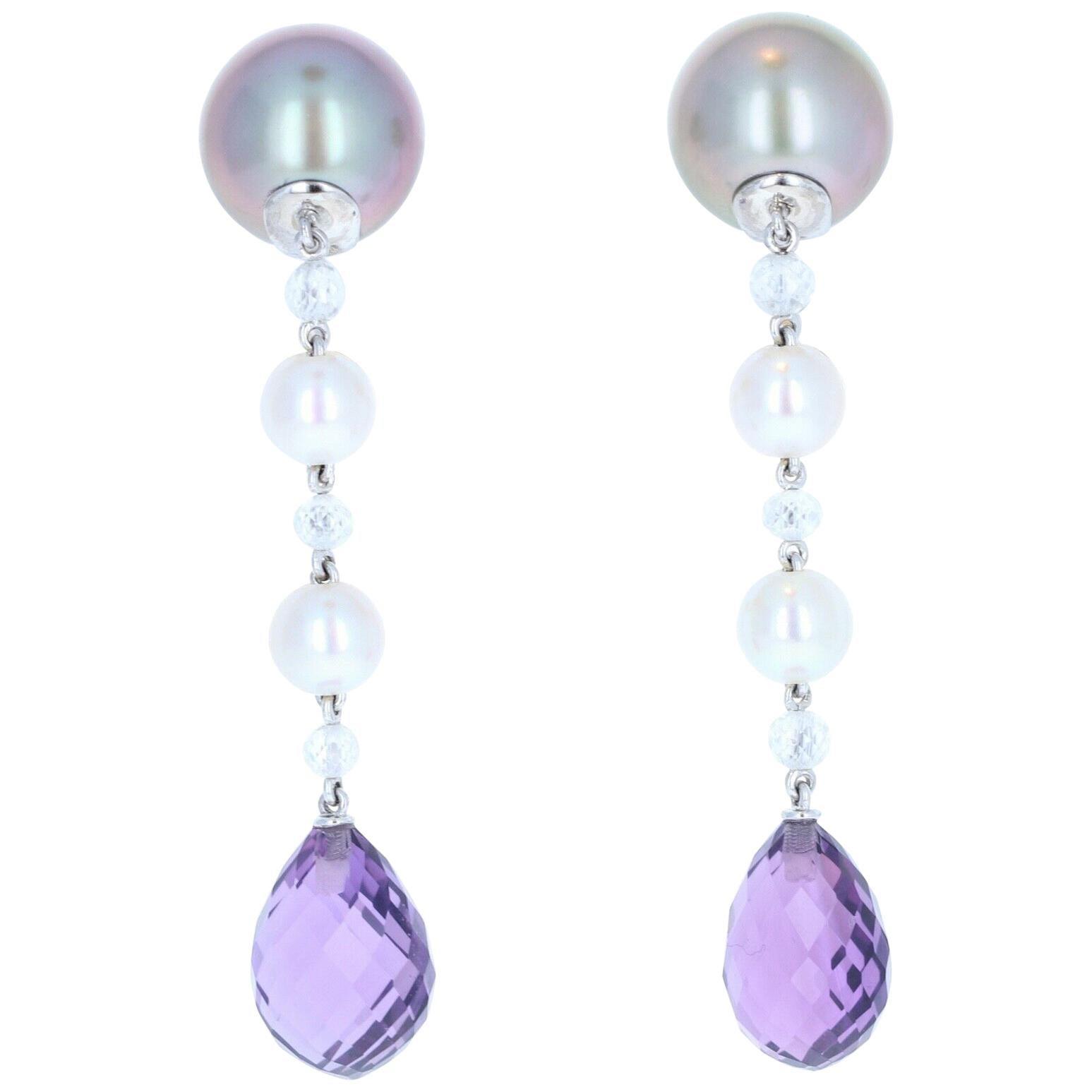 Chaumet 18K Gold, Pearl, Briolette Diamond and Amethyst Drop Earrings B & P